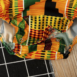 Baby Girls African Kente Cloth Off Shoulder Romper Jumpsuit Clothes My Moppet Shop