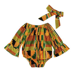 Baby Girls African Kente Cloth Off Shoulder Romper Jumpsuit Clothes B 6M United States