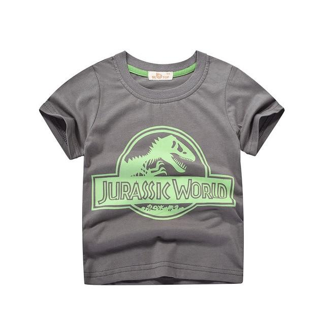 Children's Jurassic T-shirt for Boys Girls 2019 Kids Tops Dinosaur 5-14 Clothing My Moppet Shop Gray 3T