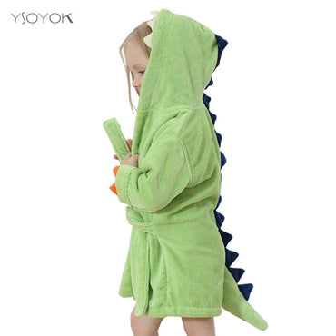 Toddler Kids Dinosaur Hooded Terry Bathrobe Boys Girls 4T-5 Clothing My Moppet Shop