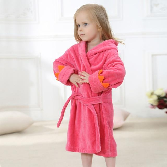 Toddler Kids Dinosaur Hooded Terry Bathrobe Boys Girls 4T-5 Clothing My Moppet Shop Rose Red 4T
