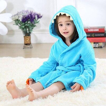 Toddler Kids Dinosaur Hooded Terry Bathrobe Boys Girls 4T-5 Clothing My Moppet Shop Blue 2T