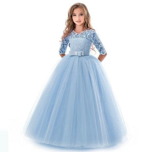 Girls Lace Half Sleeve Dress Kid Girls First Communion Dresses Tulle Lace Wedding Princess Costume For Junior Children Clothes MJJ Source Blue 13