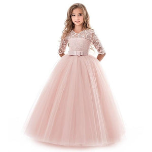 Girls Lace Half Sleeve Dress Kid Girls First Communion Dresses Tulle Lace Wedding Princess Costume For Junior Children Clothes MJJ Source Pink 6