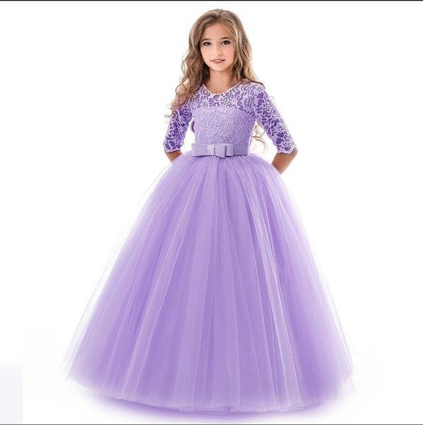 Girls Lace Half Sleeve Dress Kid Girls First Communion Dresses Tulle Lace Wedding Princess Costume For Junior Children Clothes MJJ Source Purple 11