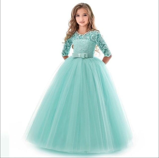 Girls Lace Half Sleeve Dress Kid Girls First Communion Dresses Tulle Lace Wedding Princess Costume For Junior Children Clothes MJJ Source Green 9