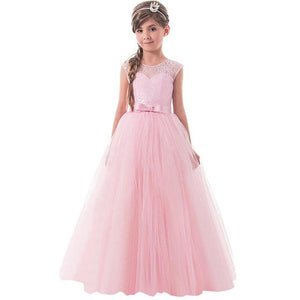 Girls Lace Half Sleeve Dress Kid Girls First Communion Dresses Tulle Lace Wedding Princess Costume For Junior Children Clothes MJJ Source Pink 1 6
