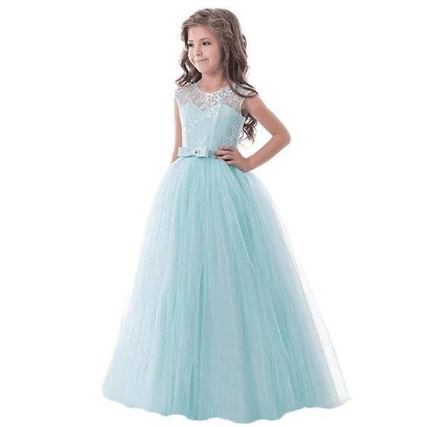 Girls Lace Half Sleeve Dress Kid Girls First Communion Dresses Tulle Lace Wedding Princess Costume For Junior Children Clothes MJJ Source Green 2 7