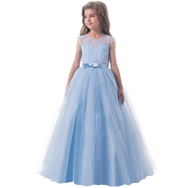 Girls Lace Half Sleeve Dress Kid Girls First Communion Dresses Tulle Lace Wedding Princess Costume For Junior Children Clothes MJJ Source Blue 2 14