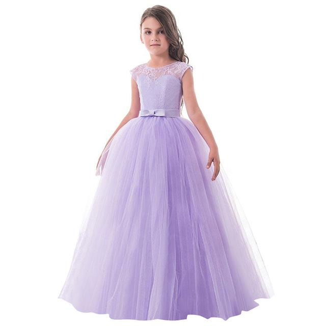 Girls Lace Half Sleeve Dress Kid Girls First Communion Dresses Tulle Lace Wedding Princess Costume For Junior Children Clothes MJJ Source Purple 2 6