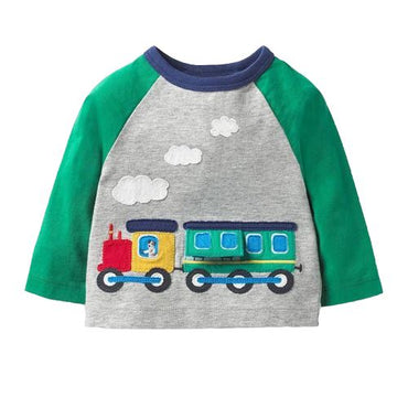 Toddler Long Sleeve Train T-Shirt Patchwork Applique Children 1 2 3T Clothing My Moppet Shop