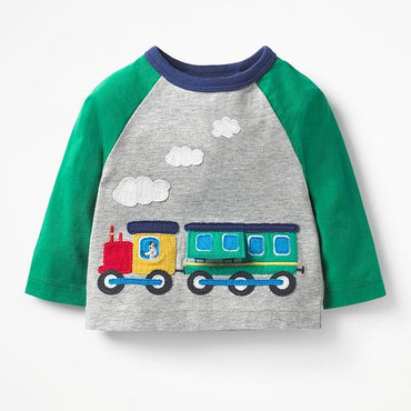 2019 Toddler Long Sleeve Train T-Shirt Patchwork Applique Children 1 2 3T Clothing My Moppet Shop