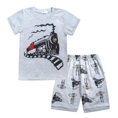 Boys Short Sleeve Train Top and Shorts Set Toddler PURE COTTON 2pcs 2-8T Clothing My Moppet Shop