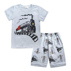 Boys Short Sleeve Train Top and Shorts Set Toddler PURE COTTON 2pcs 2-8T Clothing My Moppet Shop Gray 3T