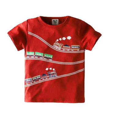 Boys Red Locomotive Train Short Sleeved T-Shirts Cotton Toddler Tee My Moppet Shop