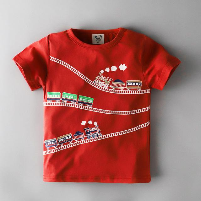 Boys Red Locomotive Train Short Sleeved T-Shirts Cotton Toddler Tee My Moppet Shop 1 2T