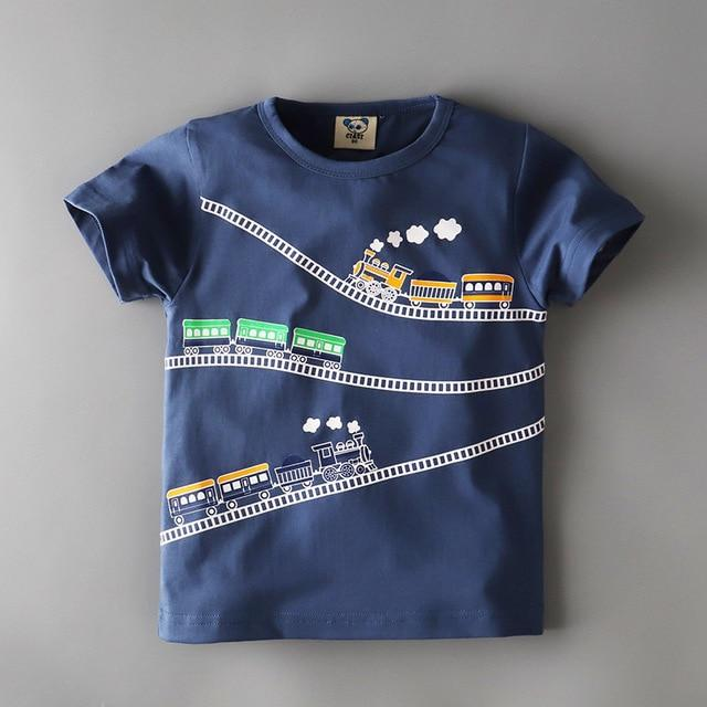 Boys Navy Blue Locomotive Train Short Sleeved T-Shirts Cotton Toddler Tee Clothing My Moppet Shop 2 5T