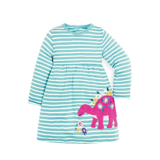 Light Blue and White Striped Pink Dinosaur Applique Dress Long Sleeve Clothing My Moppet Shop T7115 dinosaurs 4T