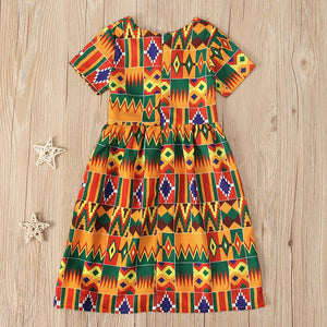 Girls African Kente Print Dress 12M-5Y Clothing My Moppet Shop