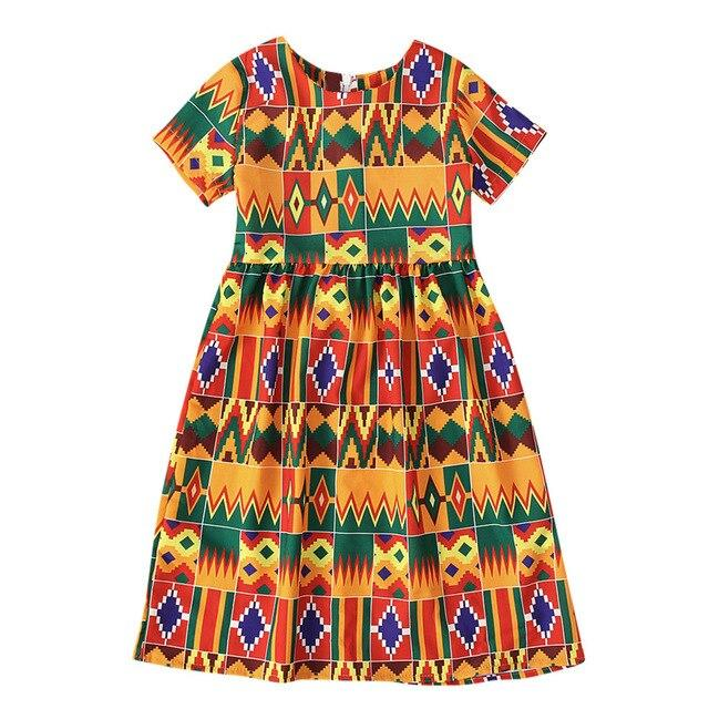 Girls African Kente Print Dress 12M-5Y Clothing My Moppet Shop Multicolor 130 United States