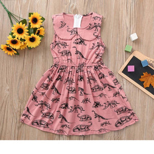 Toddler Girls Pink Dinosaur Patterned Sleeveless Dress 12M-4T Clothing My Moppet Shop