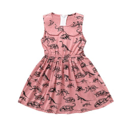 Toddler Girls Pink Dinosaur Patterned Sleeveless Dress 12M-4T Clothing My Moppet Shop 18M United States
