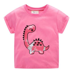 Sequined Pink Girls Dinosaur Cotton T Shirt 2T-7 Clothing My Moppet Shop T6544 Dinosaur 7T