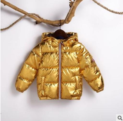 Children's Winter Down Jacket Puffer Parka Metallic Warm Kids Boys Girls Coat Clothing My Moppet Shop Golden 3T