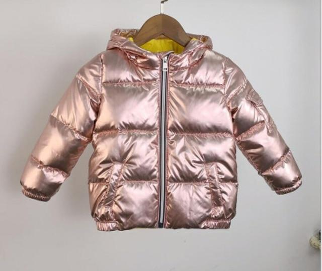Children's Winter Down Jacket Puffer Parka Metallic Warm Kids Boys Girls Coat Clothing My Moppet Shop pink 3T
