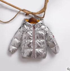 Children's Winter Down Jacket Puffer Parka Metallic Warm Kids Boys Girls Coat Clothing My Moppet Shop silvery 3T