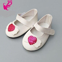 "Doll Shoes for 43 cm 18"" Dolls Doll Accessories 14 styles Toys My Moppet Shop White Pink Heart"