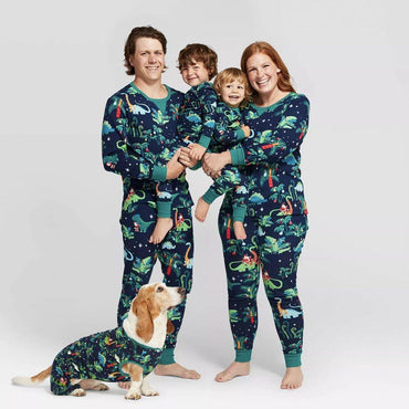Family Matching Clothes Dinosaur Printed Adults Family Look Women Kid Dog Xmas Sleepwear Nightwear Family Christmas Pajamas Set Clothing My Moppet Shop