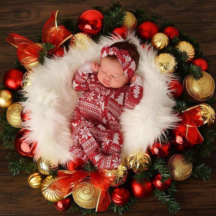 2Pcs Newborn Baby Christmas Rompers Hat/Headband Sleepwear Red and White Nordic Clothing My Moppet Shop