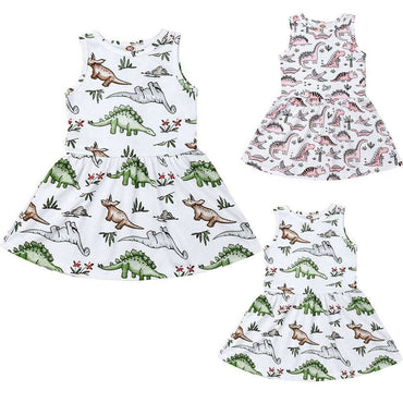Toddler Kids Baby Girls Sleeveless Dinosaur Print Dress 12M-4T 2020 Clothing My Moppet Shop