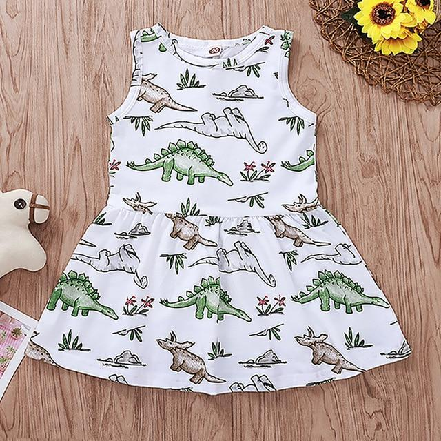 Toddler Kids Baby Girls Sleeveless Dinosaur Print Dress 12M-4T 2020 Clothing My Moppet Shop White Green 2T United States