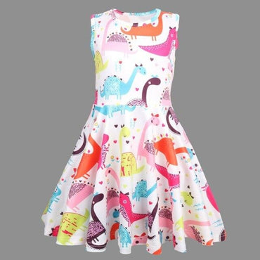Girls Dinosaur A-Line Casual Dress Clothing MJJ Source White/Multi 8
