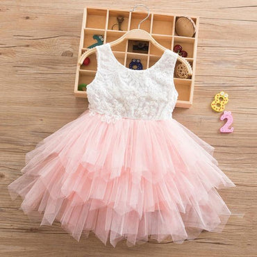 Beading Girls Dress Princess Irregular Hem Tutu 2-6 Years Clothing MJJ Source Pink 1 3T