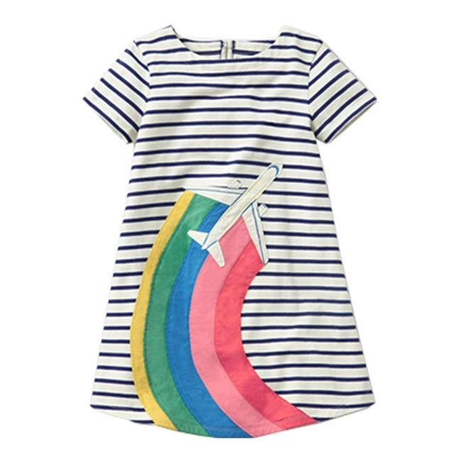 Girls Airplane Rainbow Dress MJJ Source 91 2T