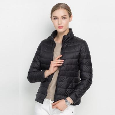 Women Winter Coat 2018 New Ultra Light White Duck Down Jacket Slim Women Winter Puffer Jacket Portable Windproof Down Coat MJJ Source Black S