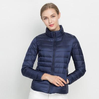 Women Winter Coat 2018 New Ultra Light White Duck Down Jacket Slim Women Winter Puffer Jacket Portable Windproof Down Coat MJJ Source Dark blue S