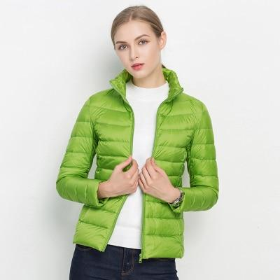 Women Winter Coat 2018 New Ultra Light White Duck Down Jacket Slim Women Winter Puffer Jacket Portable Windproof Down Coat MJJ Source Green S