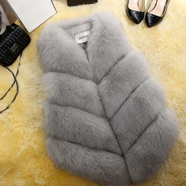 Fashion Faux Fur Coat Winter Coat Women Waist Coat Fur Gilet Women's Fur Jacket Fur Vest For Ladies Clothing My Moppet Shop gray XXL