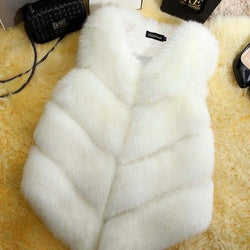 Fashion Faux Fur Coat Winter Coat Women Waist Coat Fur Gilet Women's Fur Jacket Fur Vest For Ladies Clothing My Moppet Shop white XXL