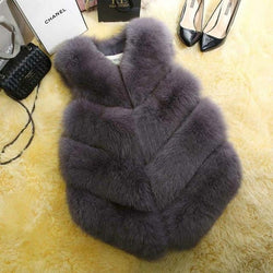 Fashion Faux Fur Coat Winter Coat Women Waist Coat Fur Gilet Women's Fur Jacket Fur Vest For Ladies Clothing My Moppet Shop dark gray XXL