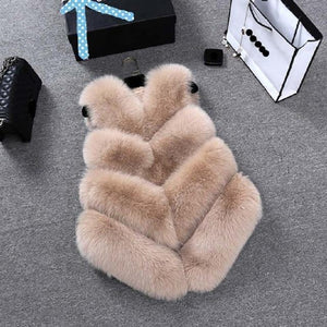 Fashion Faux Fur Coat Winter Coat Women Waist Coat Fur Gilet Women's Fur Jacket Fur Vest For Ladies Clothing My Moppet Shop Khaki XXL