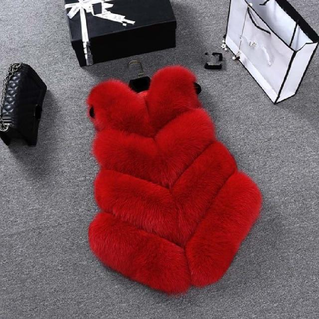 Fashion Faux Fur Coat Winter Coat Women Waist Coat Fur Gilet Women's Fur Jacket Fur Vest For Ladies Clothing My Moppet Shop red XXL