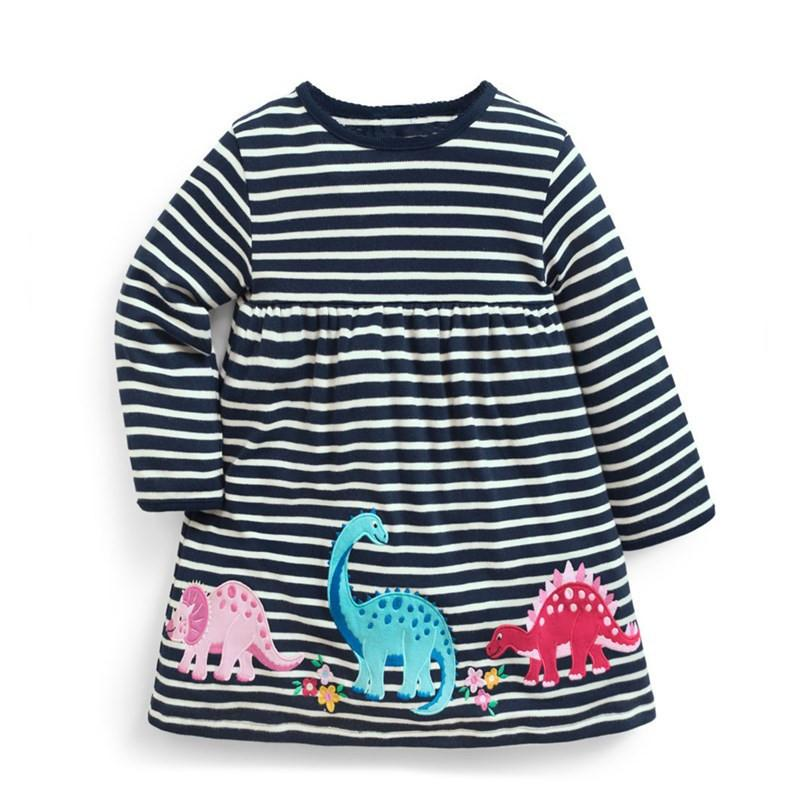 Girls Dinosaur Long Sleeve Striped Dress Clothing My Moppet Shop