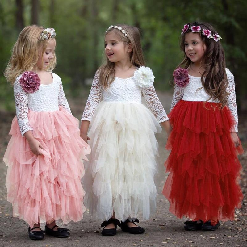 Little Girl Ceremonies Dress Baby Children's Clothing Tutu Kids Dresses for Girls Clothes Wedding Party Gown Vestidos Robe Fille Clothing MJJ Source