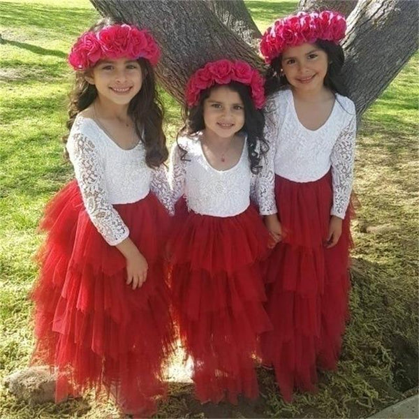 Little Girl Ceremonies Dress Baby Children's Clothing Tutu Kids Dresses for Girls Clothes Wedding Party Gown Vestidos Robe Fille Clothing MJJ Source Red 3T