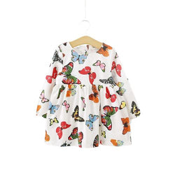 Girl's Butterfly Print Long Sleeve Cotton Dress Clothing My Moppet Shop